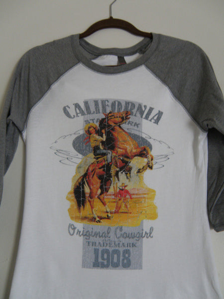 Retro California Cowgirl Baseball Tee Shirt by Original Cowgirl Clothing Co.