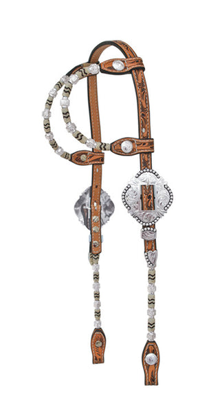 Double-Ear Silver and Rawhide Show Headstall by Alamo Saddlery