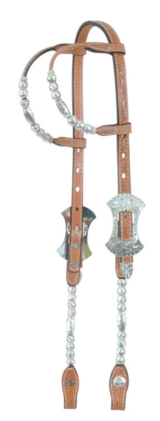 Double-Ear Show Headstall with Silver Ferrules by Alamo Saddlery