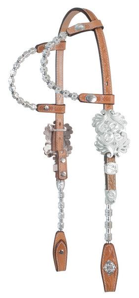 Double-Ear Show Headstall with Silver and Crystals by Alamo Saddlery