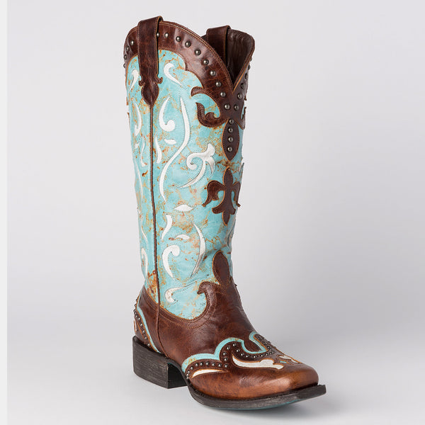 Lasso Cowboy Boot in Turquoise by Lane Boots