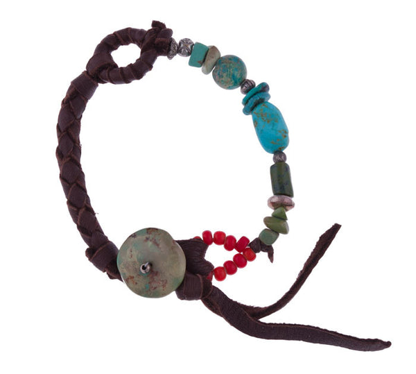 Turquoise Bracelet with Turquoise Button by 3 Angels
