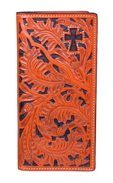 Oak Leaf Cross Checkbook Wallet by 3D Belt Company