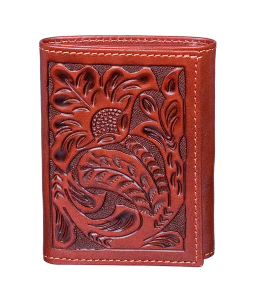 Floral Tooled Trifold Wallet by 3D Belt Company