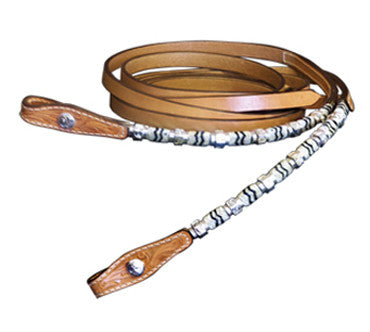 Split Show Reins with Silver and Rawhide by Alamo Saddlery