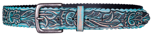 Rosette 2 Belt in Turquoise by Appaloosa Trading Co.