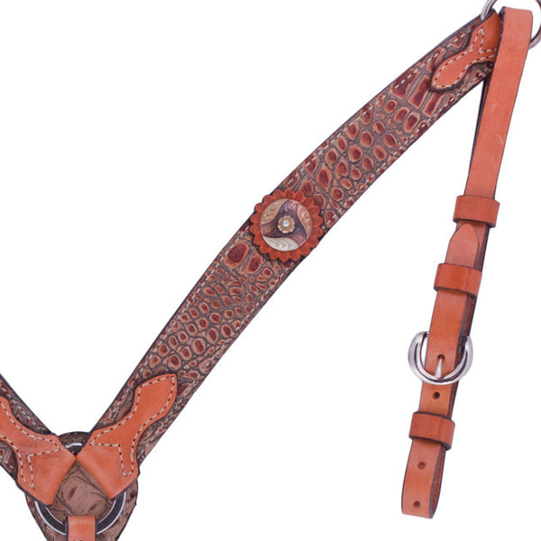 Brown Gator Breast Collar with Tri-Swirl Conchos by Alamo Saddlery