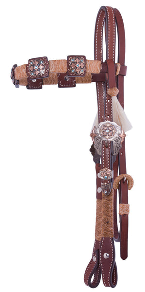 Square-Cut Headstall with Blue Crystal Conchos by Alamo Saddlery