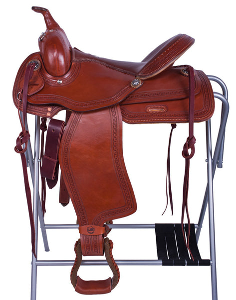 Greek Border Tooled Trail Saddle by Alamo Saddlery