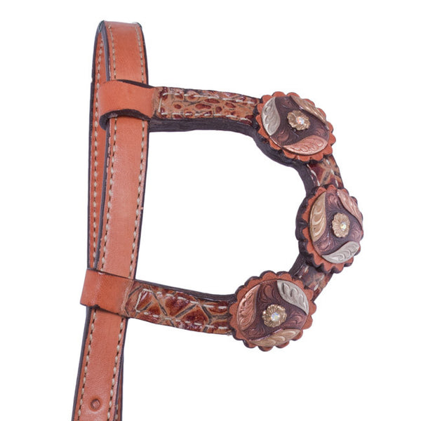 One-Ear Brown Gator Headstall with Tri-Swirl Conchos by Alamo Saddlery