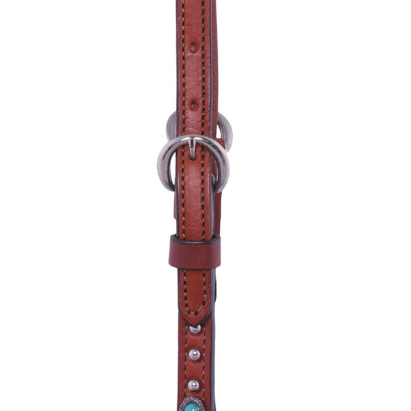 One-Ear Headstall with Turquoise Spots by Alamo Saddlery