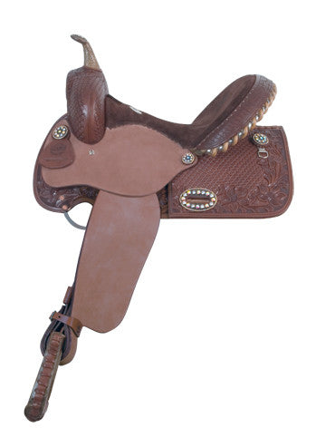Chocolate Tooled Barrel Racing Saddle (by Alamo Saddlery)
