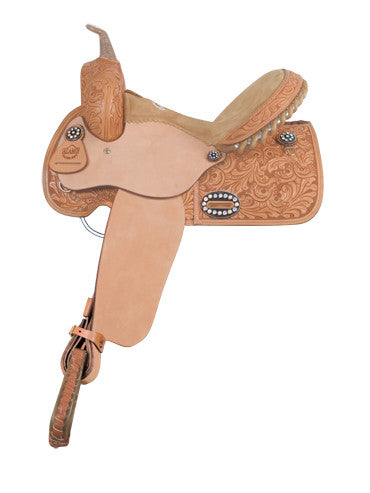 Colonial Tooled Barrel Racing Saddle by Alamo Saddlery