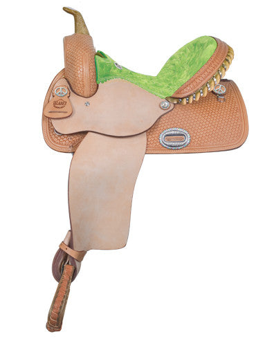 Customized Suede Seat Barrel Racing Saddle by Alamo Saddlery