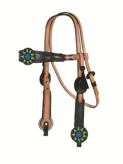 Beaded Medallion Headstall by Alamo Saddlery