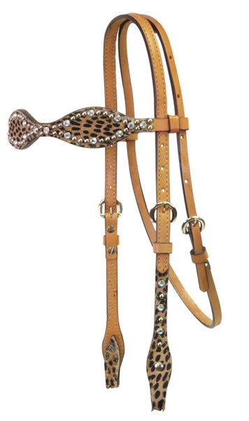 Scalloped Cheetah Headstall by Alamo Saddlery