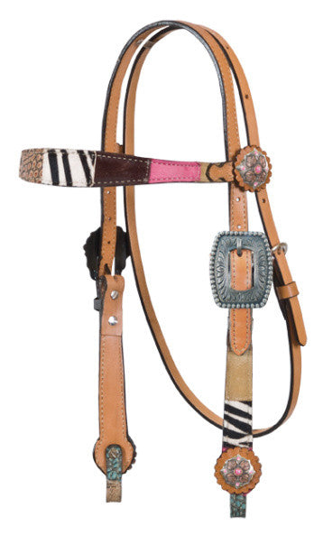 Patchwork Headstall by Alamo Saddlery