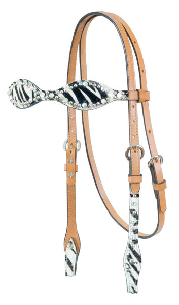 Scalloped Zebra Headstall by Alamo Saddlery