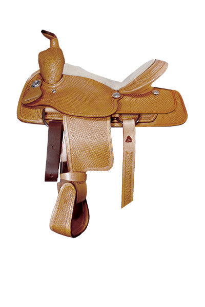 Youth Basket Tooled All-Around Saddle by Alamo Saddlery