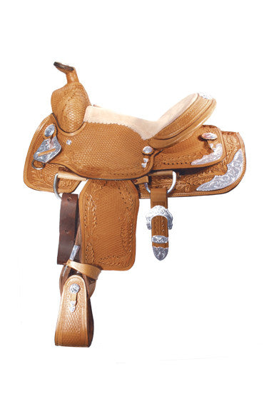 Youth Basket and Oakleaf Tooled Show Saddle by Alamo Saddlery