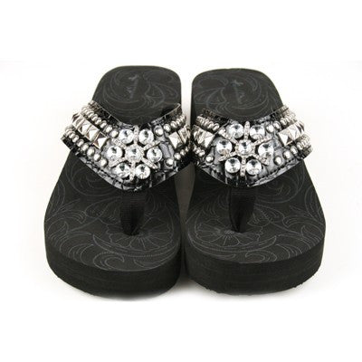 Western Bling Flip Flops in Black by Montana West