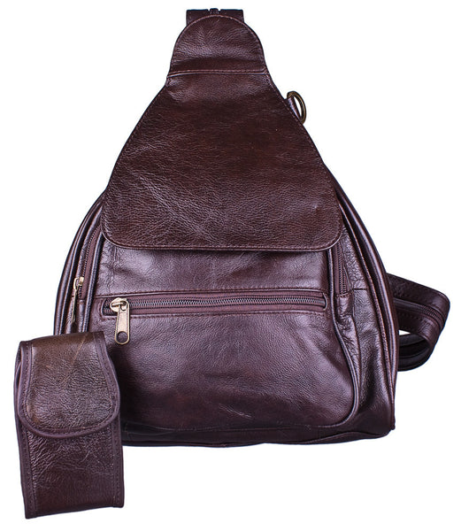 Convertible Zip Strap Backpack in Brown by Carroll Companies
