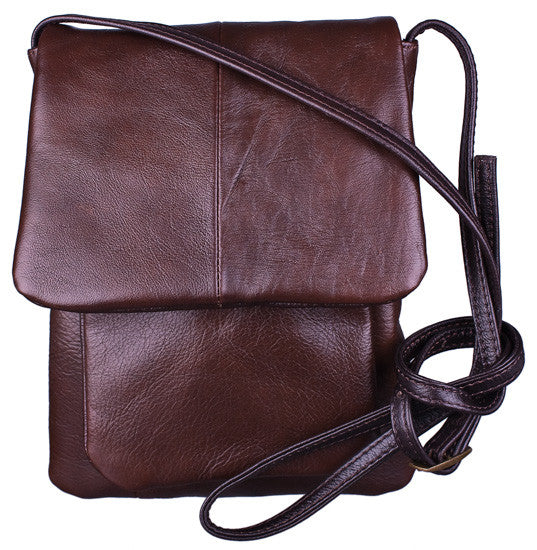 Flap Closure Shoulder Bag in Brown by Carroll Companies