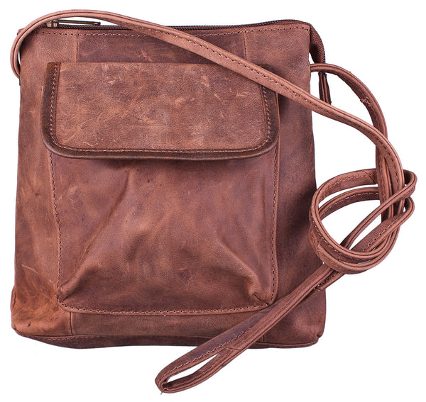 Outside Pocket Shoulder Bag in Brown by Carroll Companies