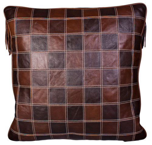 Leather Star Fringe Pillow by Carroll Companies