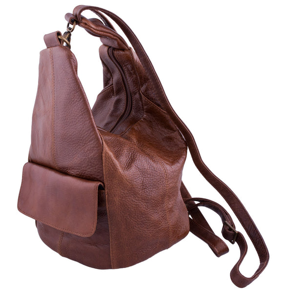 Zip-Top Backpack in Antique Brown by Carroll Companies