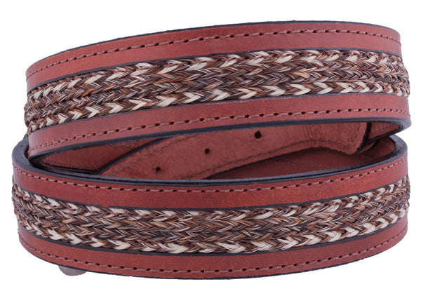 Braided Horsehair Inlay Belt in Brown by Colorado Horsehair