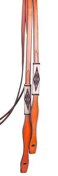 Horsehair Split Reins in Brown Diamond by Colorado Horsehair