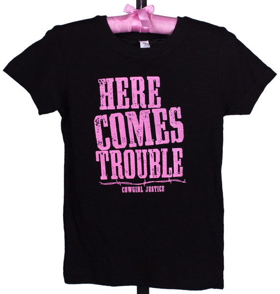 Girls' Here Comes Trouble Tee by Cowgirl Justice