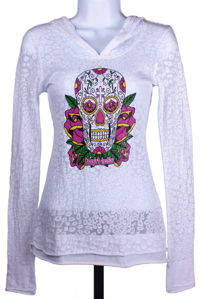 Sugar Skull Burnout Hoodie by Cowgirl Justice
