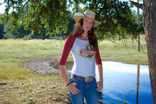 High Class Cowgirl Baseball Tee Shirt by Original Cowgirl Clothing Co.