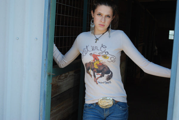 Let 'er Go Thermal Tee Shirt by Original Cowgirl Clothing Co.