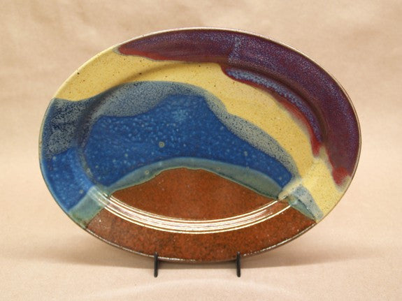 Oval Stoneware Tray in Multi-Blue by Davy Pottery