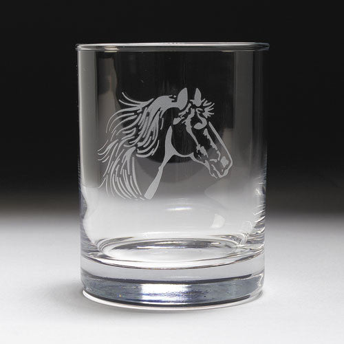 Etched Horse Head Old Fashioned Glass Set by GT Reid