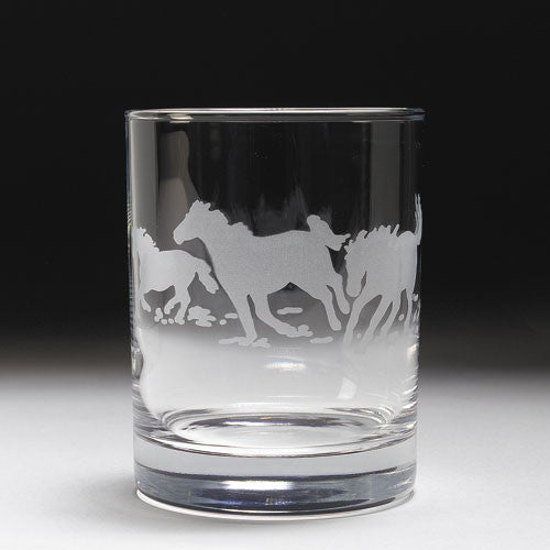 Etched Horse Double Old Fashioned Glass Set by GT Reid