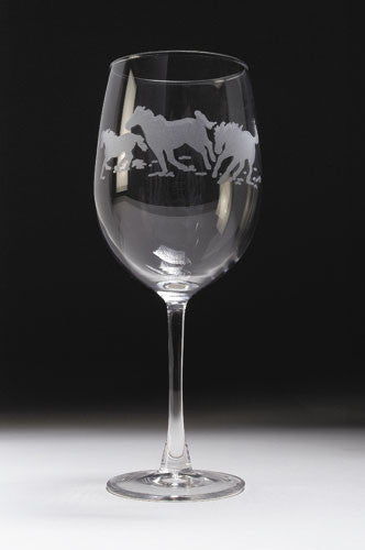 Etched Horse Bistro Wine Glass Set by GT Reid