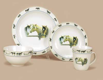 Western Stoneware Dinner Set - Horses by River's Edge