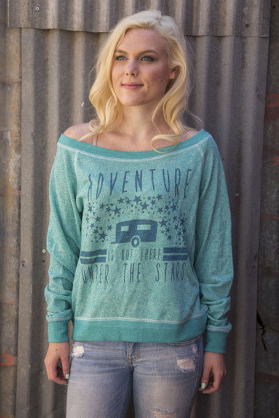 Adventure is Out There French Terry Pullover in Evergreen by Original Cowgirl Clothing Co.