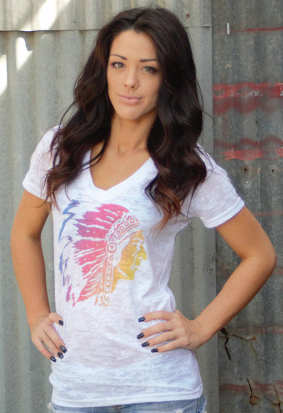 Ombre Chief Head Tee Shirt by Original Cowgirl Clothing Co.