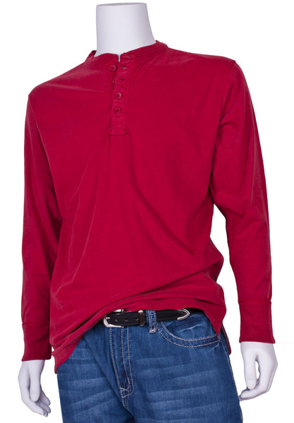 Vintage Brushed Jersey Henley in Red by J. America