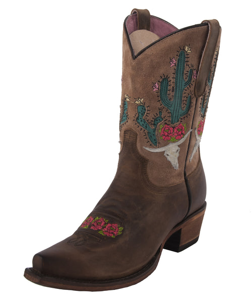 Bramble Rose Cowboy Boot in Brown & Tan by Junk Gypsy Co.