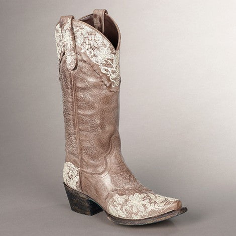 Jeni Lace Cowboy Boot in Brown by Lane Boots