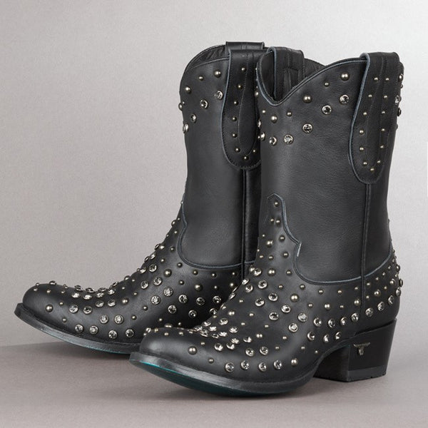 Rock Studdie Cowboy Boot in Black by Lane Boots