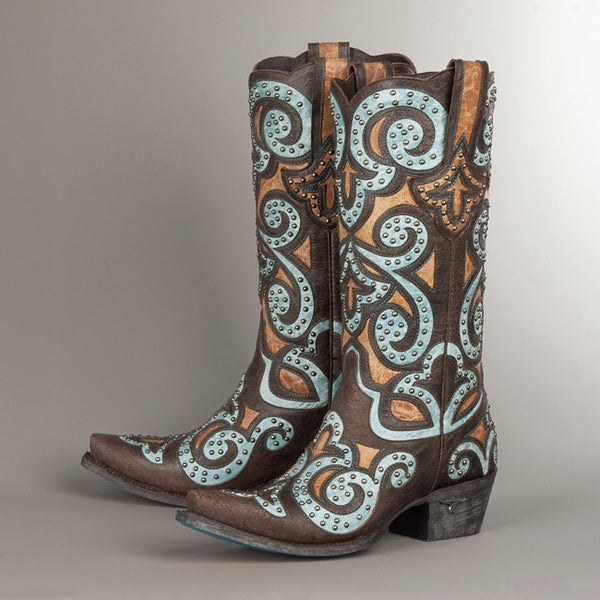 Paulina Cowboy Boot in Brown and Turquoise by Lane Boots