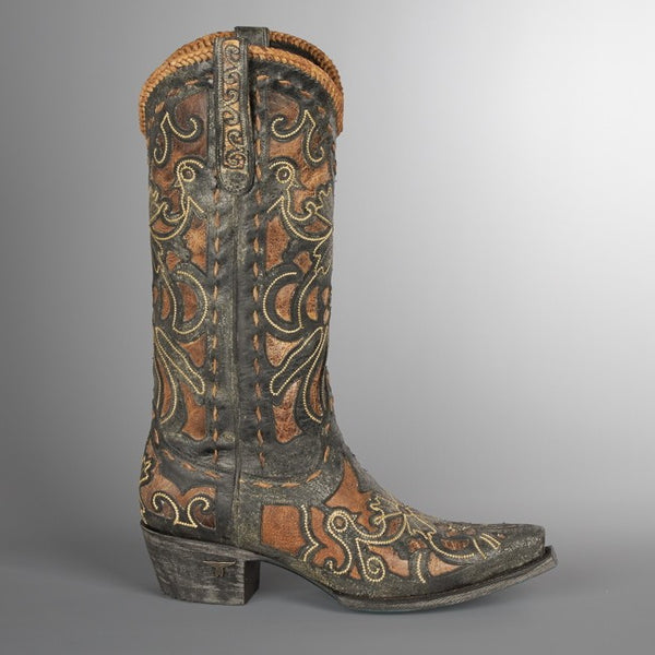 Robin Cowboy Boot in Black and Tan by Lane Boots