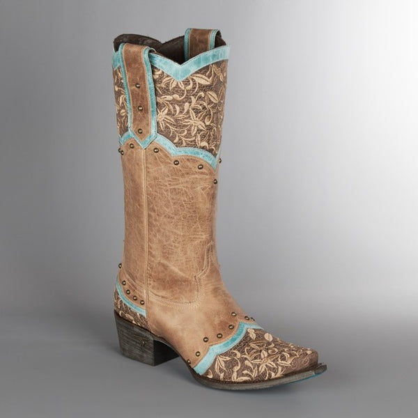 Kimmie Cowboy Boot in Taupe and Turquoise by Lane Boots